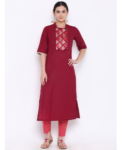 Women Maroon Embroidered Straight Kurta