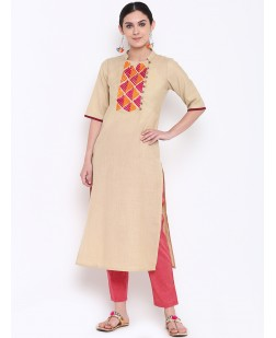 Women Beige & Red Embroidered Straight Kurta