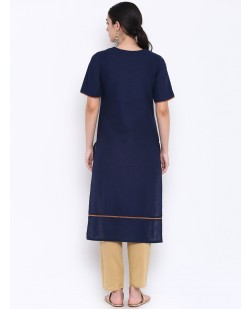 Women Navy Blue & Bronze-Toned Embroidered Straight Kurta