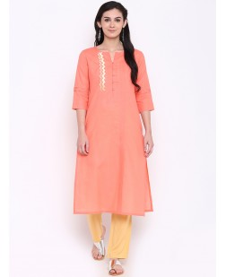 Women Peach-Coloured Embroidered Straight Kurta