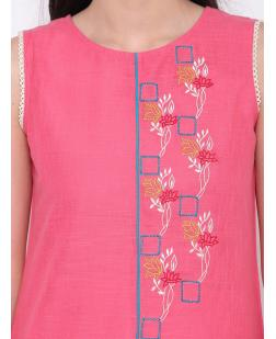 Women Pink & Blue Embroidered Straight Kurta