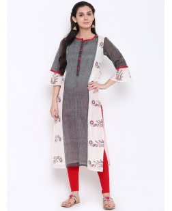 Women Grey & Off-White Printed Straight Kurta