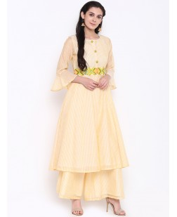 Women Peach-Coloured & Yellow Embroidered Chanderi Silk A-Line Kurta
