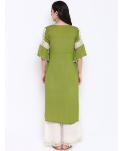 Women Green Solid Straight Kurta