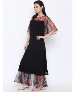 Women Black Printed Straight Kurta