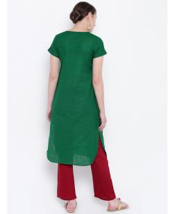 Women Green & Red Solid Straight Kurta