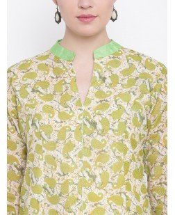 Women Green & Cream-Coloured Printed A-Line Kurta