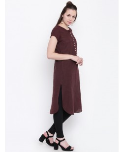 Women Brown Solid Straight Kurta