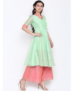 Women Green Solid Anarkali Kurta