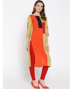 Women Orange & Beige Colourblocked Straight Kurta