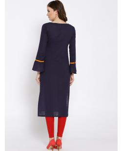Women Navy Blue Yoke Design Straight Kurta