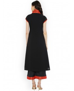 Women Black & Red Solid A-Line Kurta