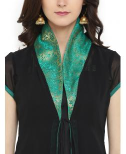 Women Black & Green Solid A-Line Kurta
