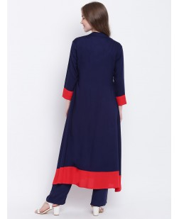 Women Blue & Red Embellished A-Line Kurta