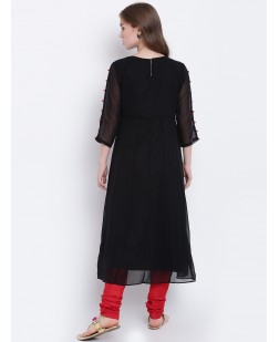 Women Black & Red Embellished A-Line Kurta