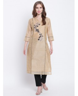 Women Beige & Black Embroidered Straight Kurta