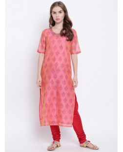 Women Pink Printed Straight Kurta
