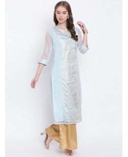 Women Blue & Gold-Toned Printed Straight Kurta
