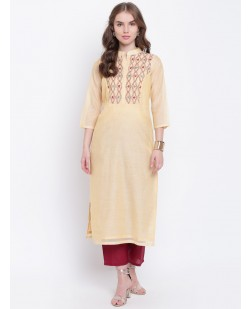 Women Cream-Coloured & Maroon Embroidered Straight Kurta