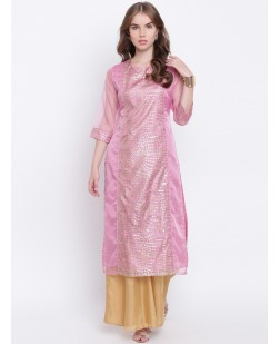 Women Pink & Gold-Toned Printed Straight Kurta