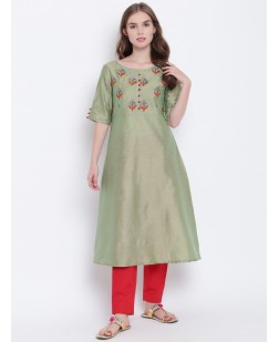 Women Green & Red Embroidered A-Line Kurta