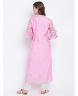 Women Pink Embroidered A-Line Kurta
