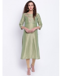 Women Green Embroidered Straight Kurta