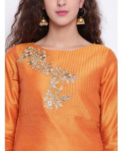 Women Mustard Embroidered Straight Kurta