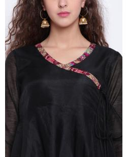Women Black Solid A-Line Kurta