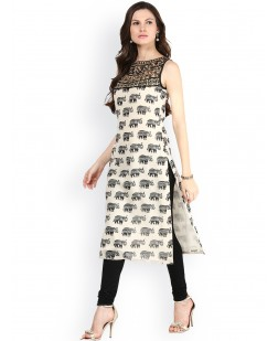 Women Cream-Coloured & Black Printed Kurta