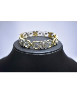 EXOTICAL Exclusive Sparkling Floral Design American Diamond Bangle Set for Women - Set of 2