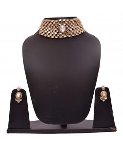 EXOTICAL Traditional Crystal & Gold Plated Choker Necklace Set with Earring & Mang Tikka for Women & Girls