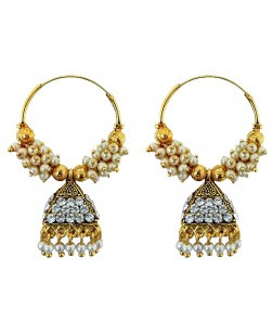 EXOTICAL Stylish Fancy Party Wear Pearl Traditional Jhumka Jhumki Earrings for Women and Girls (Golden)