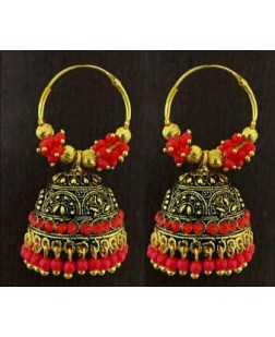 Exotical Golden Colour Plated Earrings or jhumki for Women and Girls (Red)