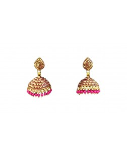 EXOTICAL Stylish Traditional Gold And Pink Jhumki Earrings With Pearl For Women & Girls