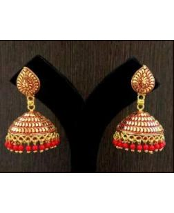 EXOTICAL Fashion Jewellery Gold Colour Plated Stylish Fancy Wear Pearl Jhumki Traditional Earrings For Women & Girls