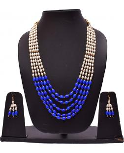 EXOTICAL 5-Layered White and Navy Blue Pearl Mala Necklace with Stud Earrings for Women and Girls