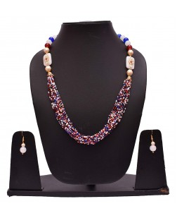 EXOTICAL Mulistrand Beaded Designer Fashion Necklace Set with Earrings for Women and Girls