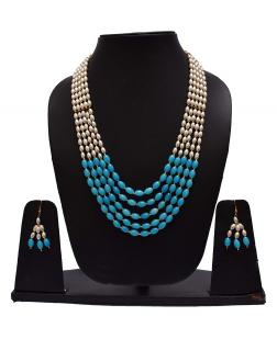 EXOTICAL 5-Layered White and Baby Blue Pearl Mala Necklace with Stud Earrings for Women and Girls