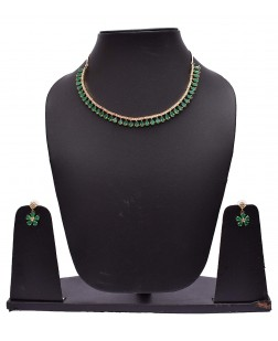 Exotical Necklaces & Sets > EXOTICAL Stunning American Diamond Green Ruby Stone Necklace Set for Women and Girls