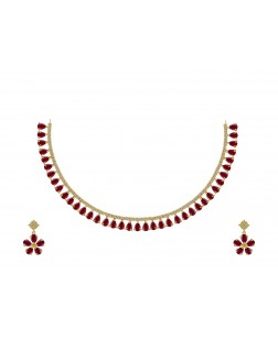 EXOTICAL Stunning American Diamond Red Ruby Stone Necklace Set for Women and Girls