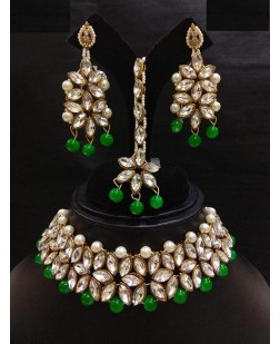 EXOTICAL Traditional Crystal Green Kundan Choker Necklace Set with Earring & Mang Tikka for Women & Girls