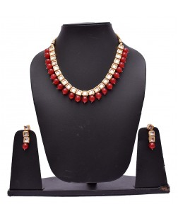 EXOTICAL Double Side Wearable Jewellery Pearl Kundan Necklace Set with Earrings for Women
