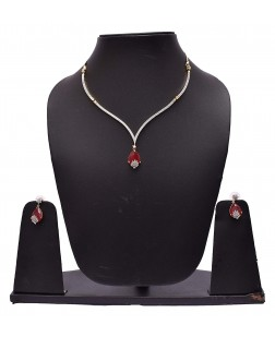 EXOTICAL Semi-Precious American Diamond Red Ruby Jewellery Necklace Set with Ring,Earring & Bracelet for Women & Girls