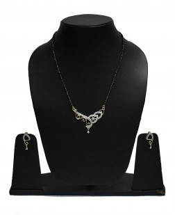 EXOTICAL Cubic Zirconia Silver Plated Elegant Classic Crystal mangalsutra for Women and Girls