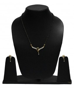 EXOTICAL Gold White Semi-Precious American Diamond Designer Fashion Mangalsutra For Women And Girls