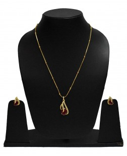 EXOTICAL Traditional American Diamond Red Gold Pendant for Women & Girls