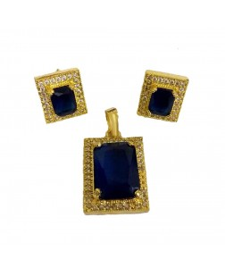 EXOTICAL Blue & Gold Traditional Jewellery Pendant for Women & Girls