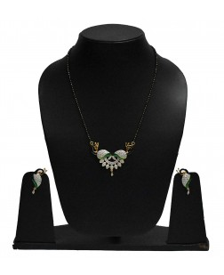 EXOTICAL American Diamond Peacock Inspired Mangalsutra Pendant For Womens & Girls