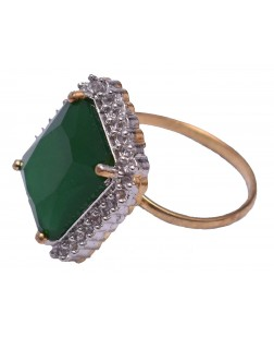 Exotical Green Crystal Dashing Jewellery Ajustable Ring for Women & Girls